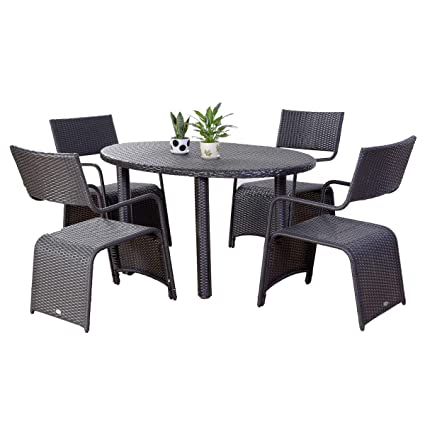 Polar Aurora New 5PCS Outdoor/Indoor Rattan Wicker Furniture Coffee Table with 4 chairs