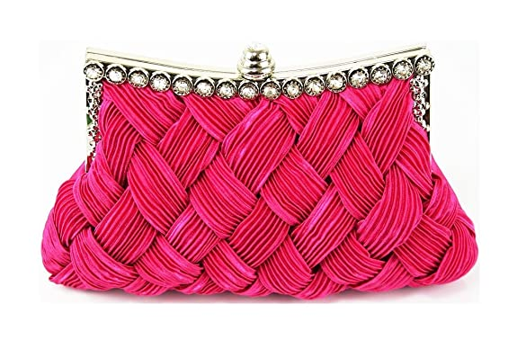 Woven Style Evening Bag with Diamante Frame