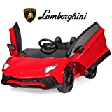 Best Choice Products Kids 12V Ride On Battery Powered Vehicle Lamborghini Aventador SV Sports Car Toy w/ Parent Control, AUX Cable, 2 Speed Options, LED Lights, Music, Horn - Red (Color: Red)