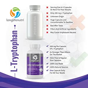 L-Tryptophan 500mg 120 Capsules | Restful Sleep | Supports