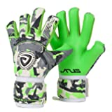 JYH Goalie Goalkeeper German Latex Gloves With Removable Pro Fingersaves,Sizes 7-10 Unisex Adult & Youth Soccer Goalies (Color: Green/Gray, Tamaño: 10)