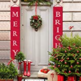 MORDUN Christmas Decorations Outdoor Indoor | Merry Bright Porch Sign | Red Xmas Decor Banners for Home Wall Door Apartment Party (Color: MERRY BRIGHT)