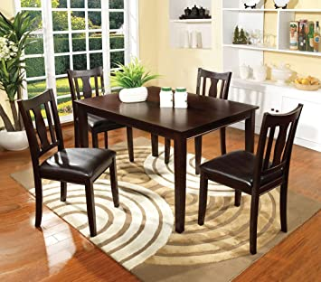 5 Pc. Northvale I collection contemporary style espresso finish wood dining table set with vinyl seat