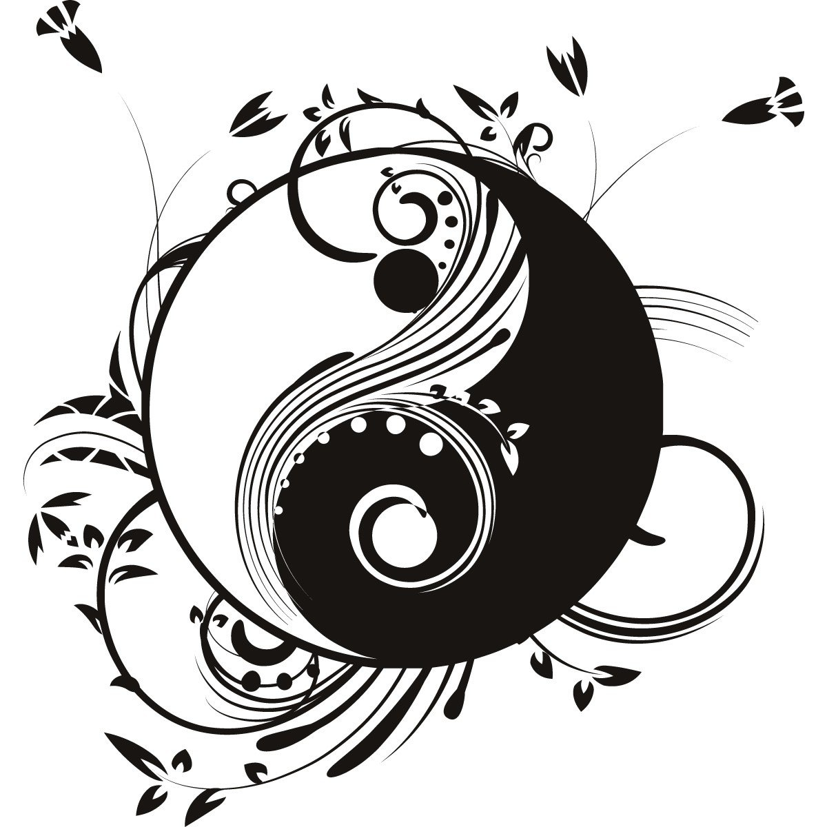 Free coloring pages of ying yang for Ying yang coloring pages