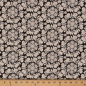 Cotton Meadowsweet Henna Garden Floral Wreaths Cream Flowers on Brown Cotton Fabric Print by the Yard (9085w-9m-brown) from Michael Miller