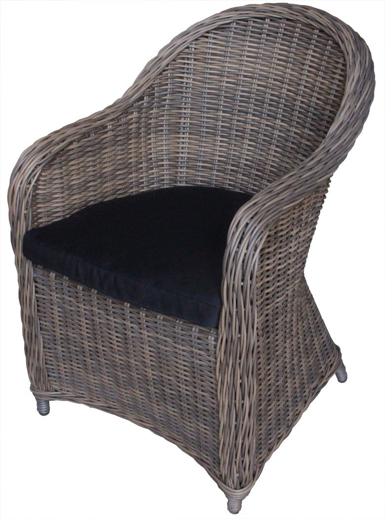"KMH®, Polyrattan Gartensessel ""Kubo"" inklusive Sitzkissen (Natur – Look / Braun) (#106127) jetzt kaufen"
