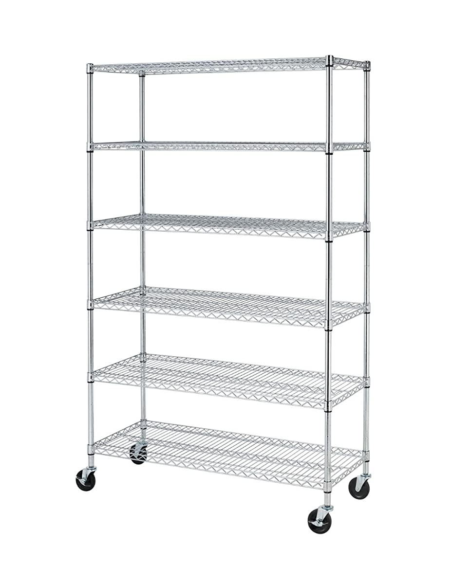 72 H X 48 L X 18 D Chrome Commercial 6 Layer Shelf