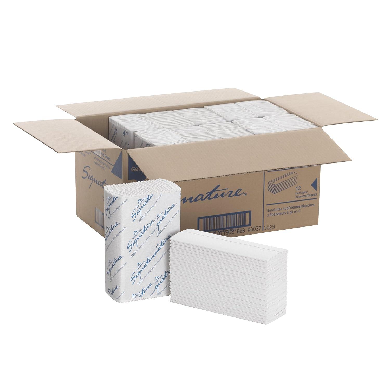 "Georgia-Pacific Signature 23000 White 2-Ply Premium C-Fold Paper Towel, 13.2"" Length x 10.1"" Width (Case of 12 Packs, 120 per Pack)"