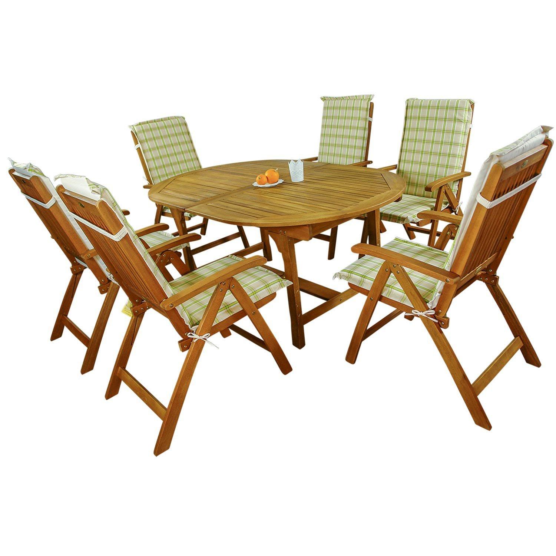 indoba® IND-70048-BASE7 + IND-70412-AUHL - Serie Bali - Gartenmöbel Set 13-teilig aus Holz FSC zertifiziert - 6 klappbare Gartenstühle + ausziehbarer Gartentisch + 6 Comfort Auflagen Karo Grün