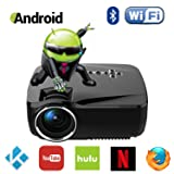 Android WiFi Bluetooth Projector (Warranty Included), Support Full HD 1080P, ERISAN Multimedia Mini Pro Portable LED Projector For Home Theater Movie Video Games (Color: Android Projector(Built-In WiFi Bluetooth))