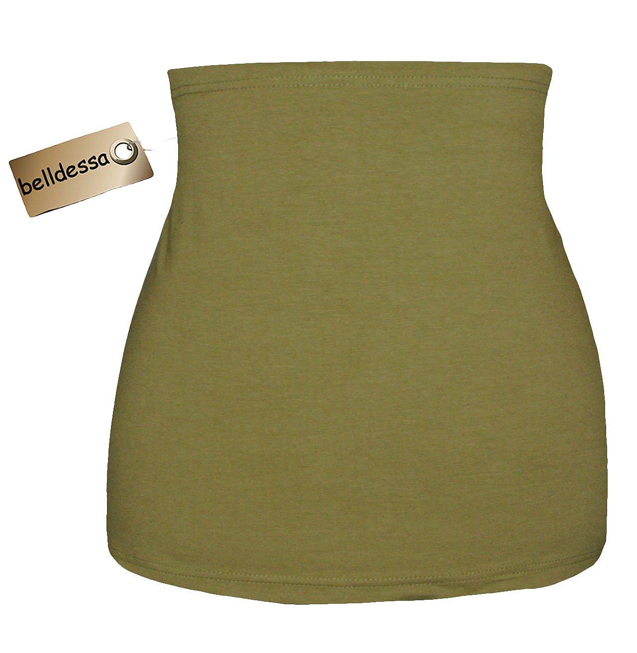 Jersey Baumwolle - oliv grun - Nierenwärmer / Rückenwärmer / Bauchwärmer / Shirt Verlängerer - Größe: Damen Frauen L - ideal auch für Blasenentzündung und Hexenschuss / Rückenschmerzen / Menstruationsbeschwerden