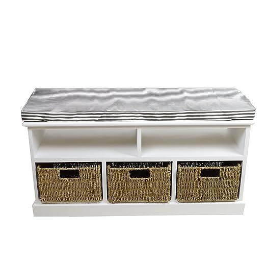 panca in legno MDF con 2 scomparti e 3 cassetti piano con cuscino sfoderbile 40X33X115 cm bianco