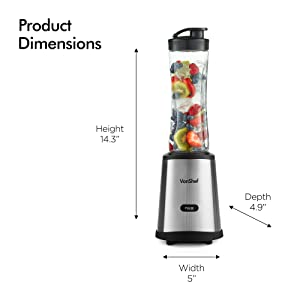 VonShef Personal Blender with Travel Sport Bottle and Travel Lid, Single Serve Smoothie Blender, for Shakes, Smoothies and Juices, in Stainless Steel, Electric 250W