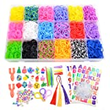 7100+ Rainbow Rubber Bands Mega Refill Kits For Bracelets, Loom Rubber Bands Set Include:6500+ Loom Bands + 600 Clips + 6 Crochet Hooks + 50 Beads + 15 Charms + 3 Tassels +3 Backpack Hook + 3 Hair (Color: 18 Colors Box Packing, Tamaño: 7100+)