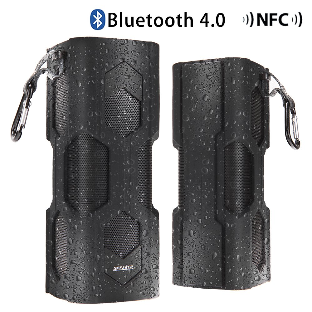 Bluetooth 4.0 Hi-Fi Stereo Speaker,Silicone Surface Portable Wireless Waterproof Outdoor/Indoor Bluetooth Speaker,NFC Supported,Built-in Battery and Microphone for HandFree Phone Call--Rubber Black