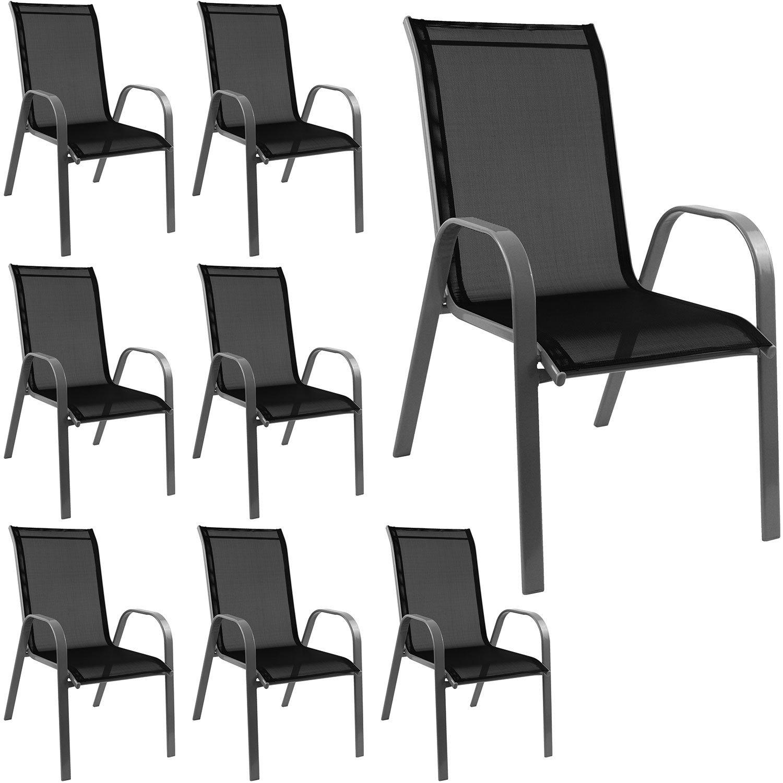 8 Stück Stapelstuhl Gartenstuhl stapelbar Stahlgestell pulverbeschichtet mit Textilenbespannung Gartenmöbel Balkonmöbel Terrassenmöbel Grau / Schwarz online kaufen