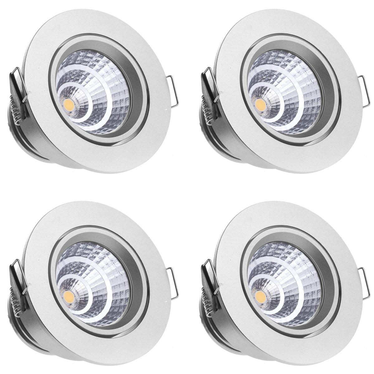 Sensati Kleine exklusive Design LED Einbauleuchte Downlight Spot Set zu 4 Stück, schwenkbar, dimmbar 1088 lm, inklusive Treiber, Gehäusefarbe silber, kaltweiß T105 4 CW S