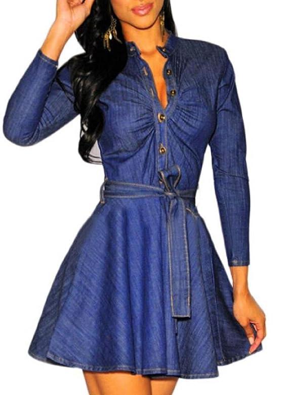 OVERMAL 2015 Womens Urban Denim Shirt Dress Shirt Dress for Girl