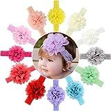 12pcs Baby Girls Headbands Chiffon Flower Lace Band for Newborns infants toddlers