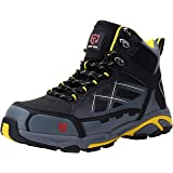 LARNMERN Mens Work Safety Boots, Steel Toe Casual Breathable Outdoor Protection Footwear (8) (Color: Black, Tamaño: 8 D(M) US)