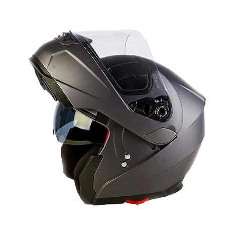 3GO Helmets A128Lot de moto E225FlipUp Casque, gris, Taille: S