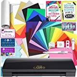 Silhouette Black Cameo 3 Creative Bundle with Bluetooth, 24 Oracal 651 Sheets and 12 Siser Easyweed Heat Transfer Sheets (Color: Black)