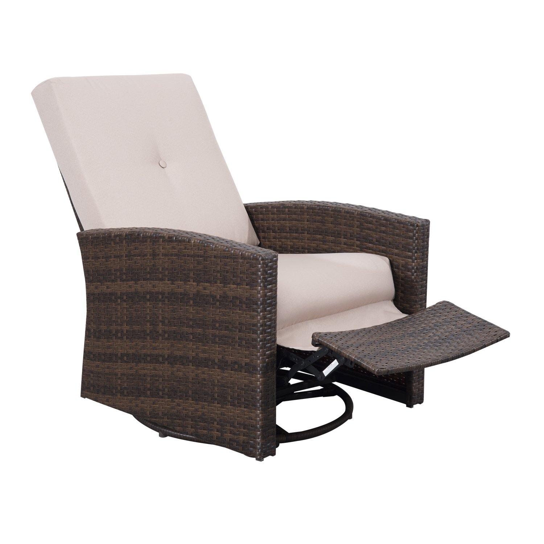 Outsunny Hochwertige Polyrattan Sessel Rattansessel Drehstuhl Rattanstuhl Stuhl Gartenmöbel inkl. Rücken-/ Sitzkissen günstig