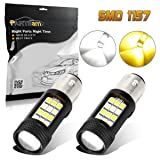 Partsam 1157 2057A 30W 42 Chip White Amber Dual Color Led Front Turn Sginal Bulb Switchback- (2pcs/set)
