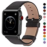 Fullmosa Compatible Apple Watch Band 38mm 40mm 42mm 44mm, Genuine Leather Band Compatible Apple Watch Series 4, Series 3, Series 2, Series1 Nike+ Hermes&Edition, 38mm 40mm Space Grey + Gunmetal Buckle (Color: Space grey+gunmetal buckle, Tamaño: 38mm(40mm for Series 4))