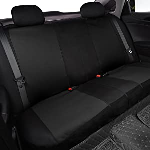 CAR PASS Montclair Universal Fit Car Seat Covers with Opening Holes for Headrest and Seat Belts Black