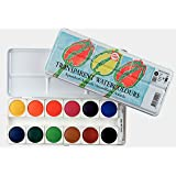 Talens Transparent Watercolors, Metal Tin, Set of 12 Round Pans (Color: Multicolor)