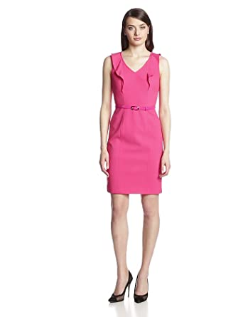 Marc New York by Andrew Marc Women's Belted Lux Dress, Raspberry, 10