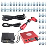 YILONG Professional Rotary Tattoo Machine Kit Gun Stroke Length 3.5mm,7-10V For Liner and Shader Machine + Power Supply and Foot Pedal + 50 pcs Sterile Disposable Tattoo Needles 1.3,5RL 7.9 RS (Red) (Color: Red)