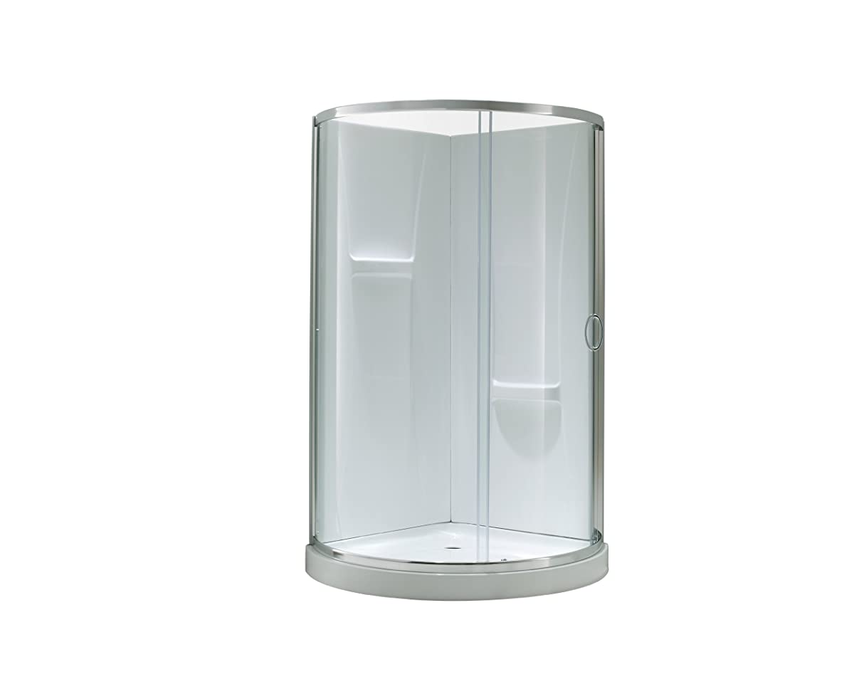Ove Decors Breeze-34-withwalls Premium 34-Inch Shower Kit with Acrylic Base and Walls and Clear Glass Sliding Door