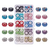 PH PandaHall 1 Box 40 Pieces 10 Color 15x10mm Resin Pave Grade A Rhinestone European Beads with Silver Color Brass Double Cores Large Hole Rondelle Beads (Color: 10 Color Rhinestone Beads)