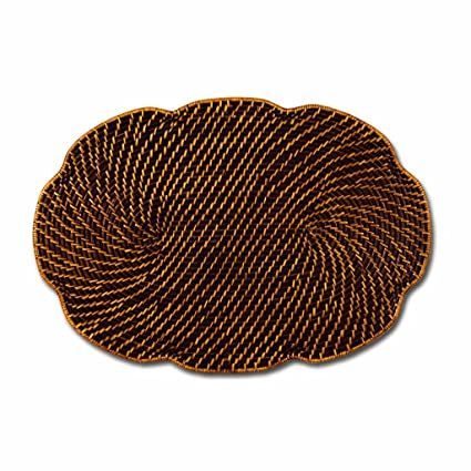 Oval Scallop Rattan Set of 4 Placemats by Keller Charles from Decorative Things, NYC