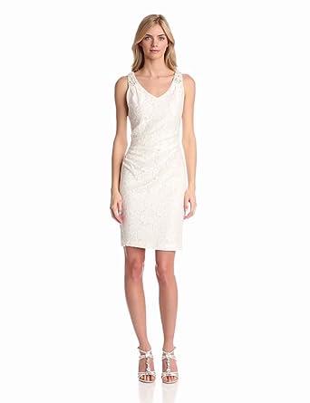 Eliza J Women's Jacquard V-Neck Bridal Dress, Ivory, 6