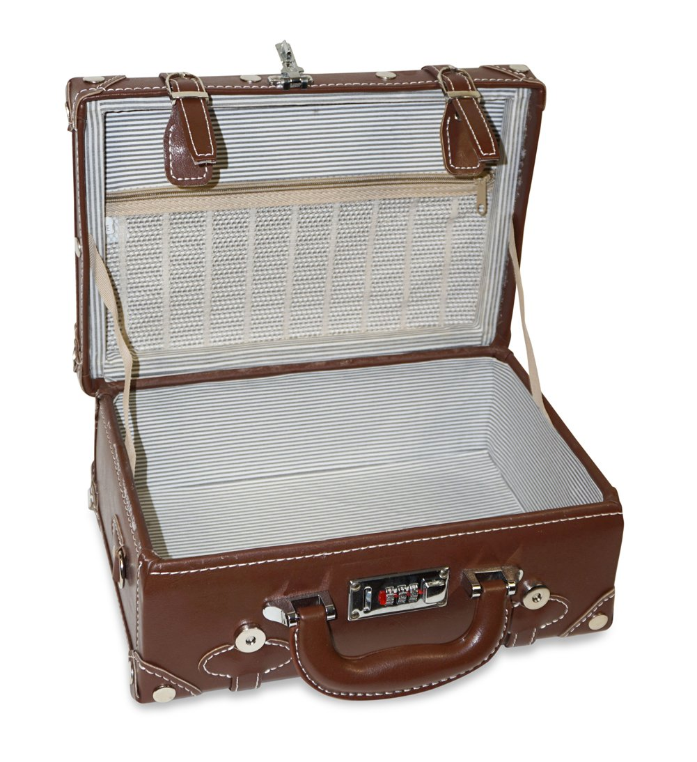 Vintage Trunk Antique Hardside Luggage Suitcase Set of 2 2