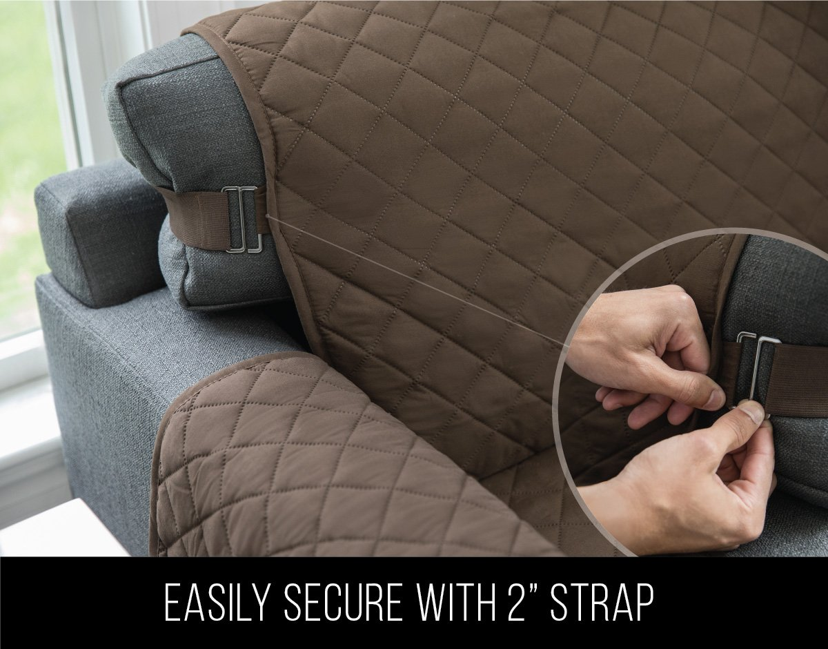 "Sofa Shield The Original Reversible Couch Slipcover Furniture Protector, 2 Inch Elastic Strap, Machine Washable, Cover Perfect for Pets and Kids, Seat Width Up to 70"" (Sofa: Chocolate/Beige)"