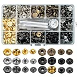 120 Sets Snap Fasteners Kit, Metal Snap Buttons Press Studs with 4 Pieces Fixing Tools, 6 Color Clothing Snaps Kit for Leather, Coat, Down Jacket, Jeans Wear and Bags (Color: Gold)