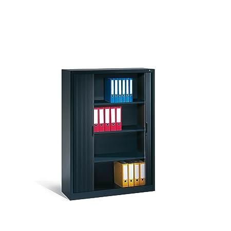 CP Armoire à rideaux à lames verticales - h x l x p 1660 x 1200 x 420 mm, 3 tablettes, 4 hauteurs classeurs gris noir - armoire armoire de bureau armoire pour bureau armoire à rideaux armoires armoires de bureau armoires pour bureau a
