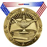 Decade Awards Academic World Class Engraved Medal – Gold | WCM Lamp Knowledge Award First Place Award | Includes Stars Stripes American Flag Neck Ribbon | 3 Inch Wide – Customize Now (Color: Gold)