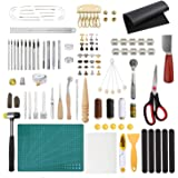 Dorhui Leather Working Tools and Supplies, 203 Pieces Practical Leather Tools Father's Day Gift, Leather Craft Stamping Tools, Prong Punch, Hole Hollow Punch, Matting Cut for Leather DIY (Tamaño: Medium)