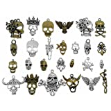 Kinteshun Multistyle Skull Head Skeleton Steampunk Charm Pendant for DIY Jewelry Making Accessaries(26pcs,Antique Silver&Bronze Tones) (Color: Mix skull)