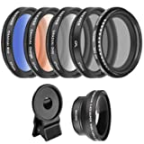 Neewer 37mm Cell Phone Lens Accessory Kit, Includes 0.45X Wide Angle Lens,Lens Clip,Graduated Color Filters (Blue Orange Grey), CPL Filter, ND Filter for iPhone, Samsung, Huawei, etc (Color: black, Tamaño: 7.6 x 3.7 x 2.2 inches)