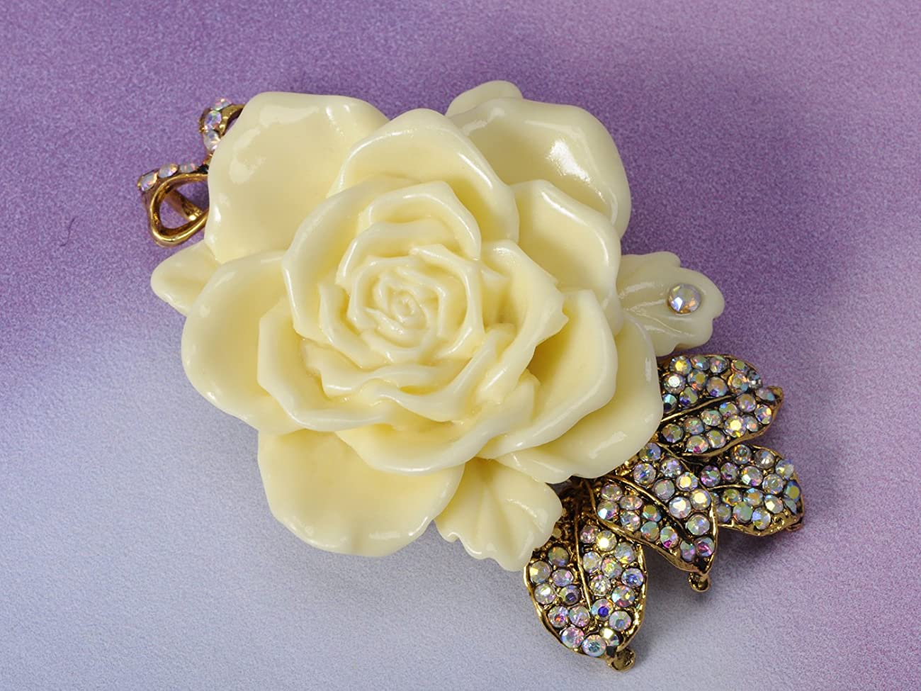 Vintage Inspired Tone Elegant Cream White Resin Enamel Rose Crystal Rhinestone Fashion Jewelry 1