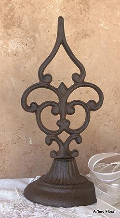 Cast Iron Fleur De Lis Style Finial Tabletop Decor by DCIINC