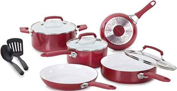 WearEver C943SA Pure Living Nonstick Ceramic Coating PTFE-PFOA-Cadmium Free Dishwasher Safe Cookware set, 10-Piece, Red