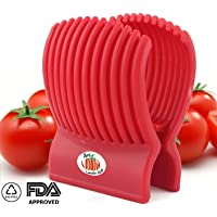 Arc Tomato Slicer Amazingly Accurate Tomato Slicer with Firm Grip System (Red)