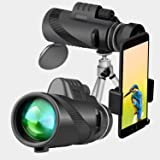 Monocular Telescope, Binrrio 40x60 High Power BAK4 Prism Waterproof Scope with Smartphone Holder and Tripod for Travel, Bird Watching, Concert, Sports, Hiking, Hunting, Camping (Color: Black)
